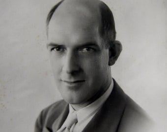 Vintage B&W Portrait of a Businessman in suit - 5x7 photo, photograph, original, scrapbooking, photography, black and white, balding