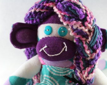 Sock Monkey / Purple  and Turquoise / White Pink / Argyle / Gifts for Her / Unique Gift / Gifts for Girlfriend / Nursery Decor / Baby Shower