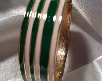 Vintage Green and White Enamel Striped Cuff Bracelet, Hinged Spring Opening, Fine Condition.