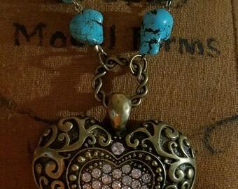 Handmade Jewelry -  Large Brass Tone Rhinestone Heart on a 20-inch Turquoise Strand