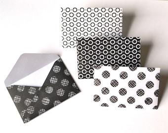 Mini Black And White Envelopes - Set of 12 - Black Gift Card Envelopes - Black and White Envelopes - Mini Envelopes - Gift Card Envelopes