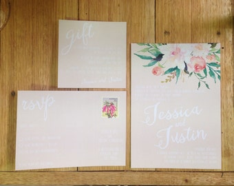 Floral watercolor wedding invite, Invitation Suite, white text, Watercolour