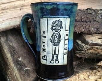 Nerds Unite Mug ~ Wheelthrown Pottery - Black/Green/Blue