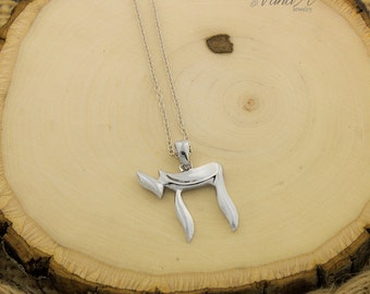 Sterling Silver Chai Symbol Necklace Jewish Pendant adjustable 15.5 to 17.5 N-84