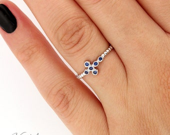 Sterling Silver 925 Cross ring delicate tiny  Blue Sapphire Cross Ring Sideways Cross Band (R45)
