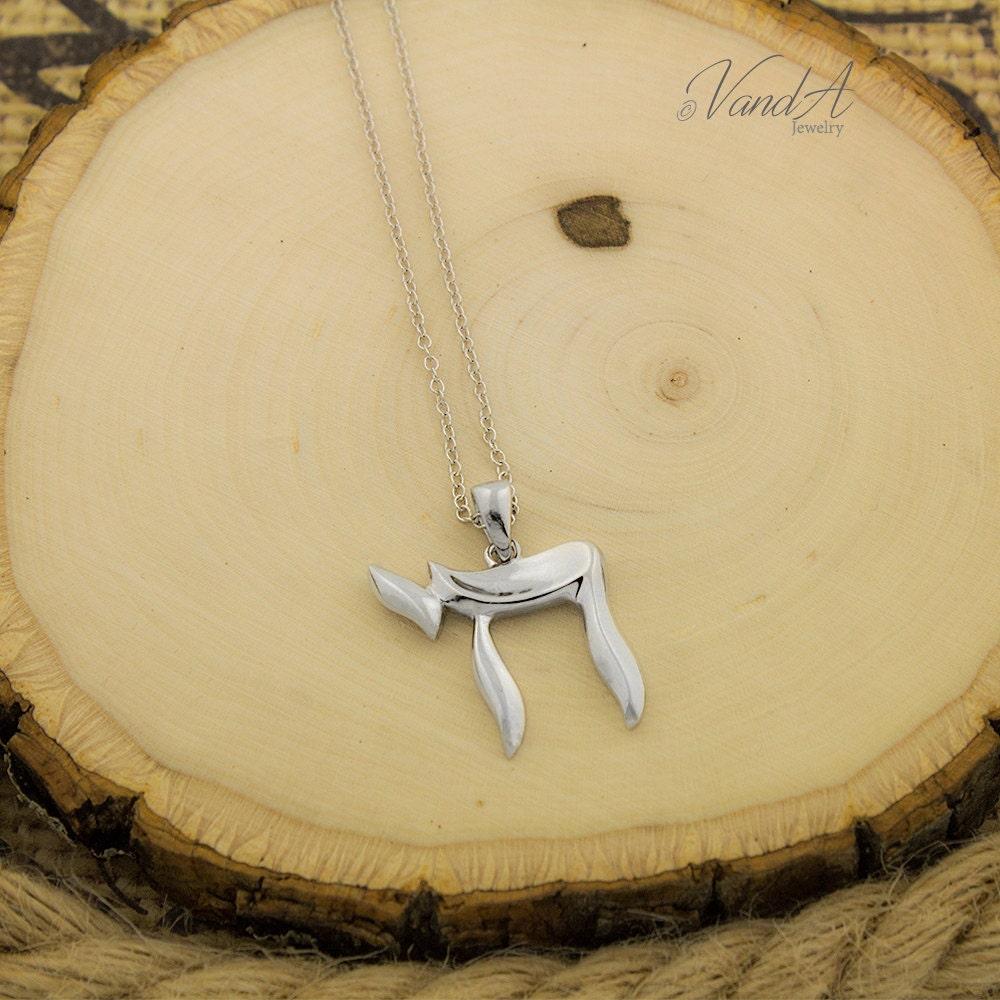 Sterling silver chai symbol necklace jewish pendant adjustable details chai symbol necklace pendant buycottarizona
