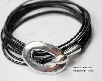 3 sets Antique Silver Leather Bracelet Hook Clasps-MT569