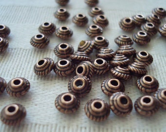 144  Antique Copper Bicones. 5x3.5mm. Small Copper UFO Spacer. Vintage Style Tiny Metal Bicone Spacer. USPS Standard Ship Rates ~From Oregon