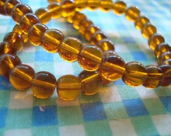 "100 Smooth Cola Brown Translucent Rounds. 6mm. Dark Amber Imitation Druk Beads  Long 21"" Strands   ~USPS Ship Rates/Oregon"