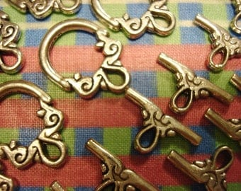 20 Sets Medium Size Antique Silver Hoop Toggle Clasps. 15mm Wide x20mm Long Hoop. 17mm TBars.  *USPS Ship Rates from Oregon