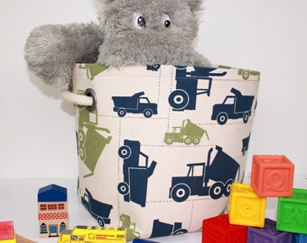 12x12x10 Construction Trucks Fabric Basket or Fabric Bin - great for toy or clothes storage