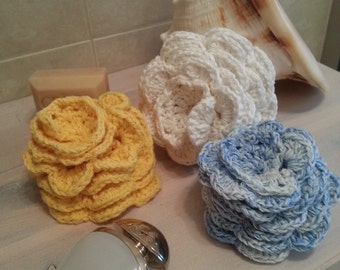 3 -PC Set, Crocheted Flower Washcloth/Dishcloths/Body wash 100% Cotton, Handmade Gift Set