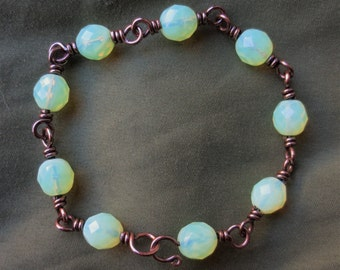Copper wire wrapped vaseline glass bead bracelet