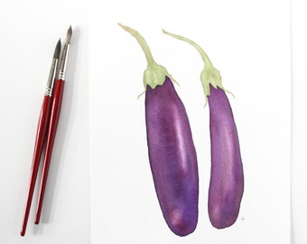 Watercolor Eggplant Original Botanical Fine Art Kitchen Decor 9x12 Vegetable Contemporary Realistic