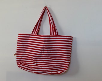 Red striped zipped bag, beach bag, zippered bag, summer bag, stripped beach bag, nautical bag, handmade bag