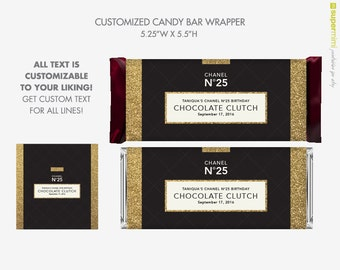 No 1 Black Gold Glitter Chocolate Clutch Candy Bar Wrapper Labels / Customized DIY Printable
