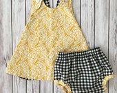 Yellow Baby Dress , Checker Baby Dress , Yellow Toddler Dress , Yellow Pinafore , Checkered Bloomers , Mustard Yellow Dress , Baby Dress