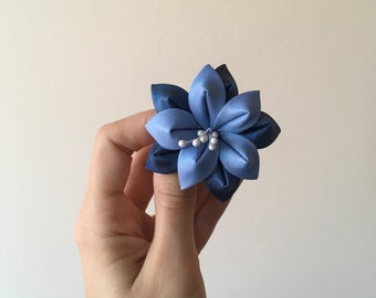 blue and navy blue flower, Ponytail holder, Pigtail Holder, Fabric Holder, Baby Ponytail, Pigtail Holders, Pigtail Kanzashi, sailor's style