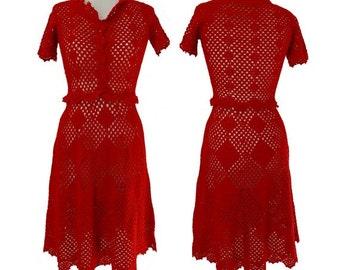60s  Crochet Lace Open Knit Mini Dress //  Bohemian 60s dress // size  us6-8