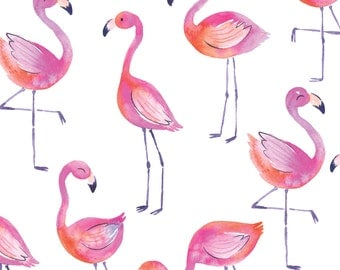 Fancy Flamingos - Watercolor - Organic Swaddle, Boppy Cover, Crib Sheet, Changing Pad Cover, Minky Baby Blanket