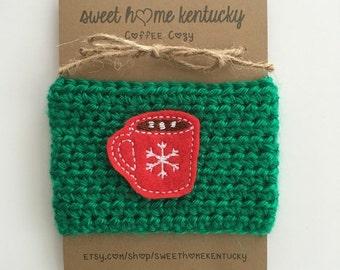 Coffee Cozy, Red Hot Chocolate Mug // White Only // Coffee Sleeve, Crocheted, Cup Sleeve, Handmade