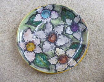 Ceramic hand painted plate made in Mexico.