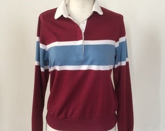 Vintage 80s Maroon Striped Polo Shirt