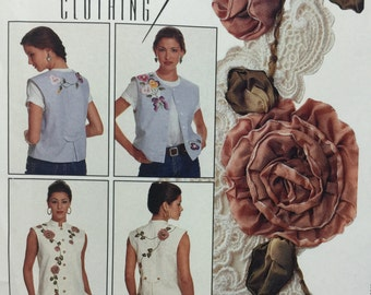 McCall's Crafts 695 Creative Clothing Appliques, Sleeveless Vest Sewing Pattern, Ribbon Embroidery,Ribbon Flowers,Floral Motifs,Misses 8-22