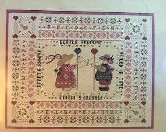 """Bernat Counted Cross Stitch Kit """"Gentle Promise"""" Vintage Kit from the 1980's Sampler Needlework Kit - Needlework Sampler"""