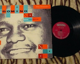 RARE! FATS DOMINO Rock And Rollin' 1st Pressing Imperial Maroon Label Lp 9009 Ex+ Rare Record Album R&B Pianist Singer Songwriter legend