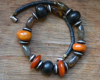 African Amber necklace with antique Agate and Tuareg beads, trade bead necklace