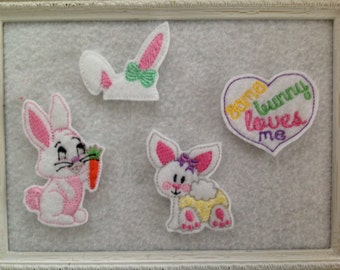 Bunny Feltie , 4 to Choose  Unique Easter Felties  Always Precut