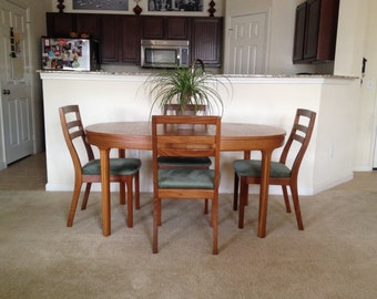 Vintage 1960's Mid-Century danish modern dining room table and chairs