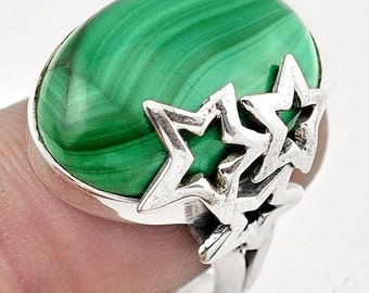 Ring sterling silver. 925 malachite