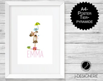 A4 Art Print with name I animal pyramid