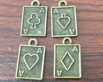 2sets(8pcs) Ace Card Charms, Poker Charms, Card Charms, Antique Bronze Tone Charms, 2 Sided, 19mm x 12mm - LJ249023