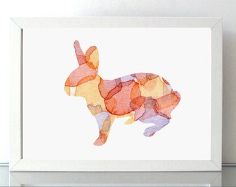 Rabbit Watercolor Painting   Wall Art Print - Orange pink - Home decor - Bunny Fantasy Animal Painting - Pattern Abstract Art- Nursery Decor