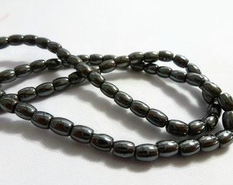Oval Hematite Beads 6mm, 1 strand
