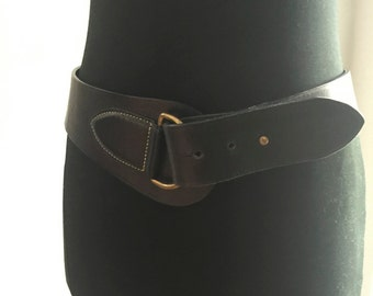 Medium Wide Black Belt - Ralph Lauren (Worn on the Hip)
