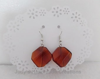 Amber Brown Beaded Earrings,  Brown Earrrings, Brown Jewelry, Brown  Dangle Earrings, Brown Silvertone Earrings,