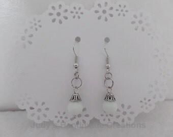Beaded White Earrings,Beaded Earrings, White Earrings, White Dangle Drop Earrings, Bead Earrings, Popular Earrings