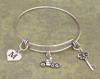 Semi Truck Memory Wire Bracelet