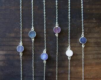 Agate Druzy Sterling Silver Necklace Gemstone Choker Necklace Drusy Stone Necklace