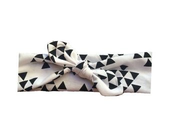 White and black triangle top knot knit headband