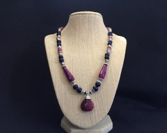 Royal Blue and Magenta Jade Pendant Necklace