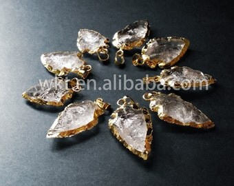 WT-P309 Natural druzy quartz pendants, 24k Gold Electroplated Crystal Arrowhead Pendant, Rock Crystal gemstone pendant