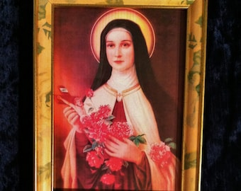 Saint Therese The Little Flower Print In Vintage Gold Frame