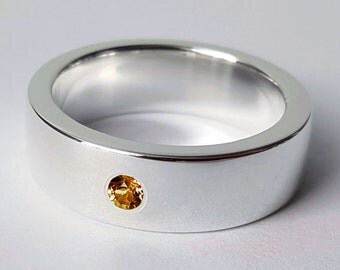 Wide Sterling Silver Citrine Band - Sterling Silver Citrine Ring, Sterling Silver Wide Band, Citrine Wedding Band, Heavy Citrine Band
