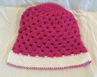Hot Pink and White Crochet Bucket Hat