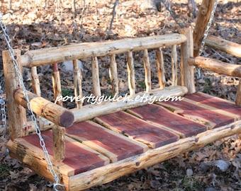 Free Shipping - 4' Rustic Cedar Log Porch Swing - Rustic Porch Swing - Wood Porch Swing - 4 Foot Swing - Poverty Gulch - Rustic Wedding Gift